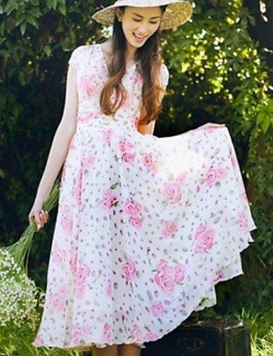 PU&PU Robe Aux femmes Mousseline de Soie Street Chic,Fleur Col en V Midi Polyester WHITE-L