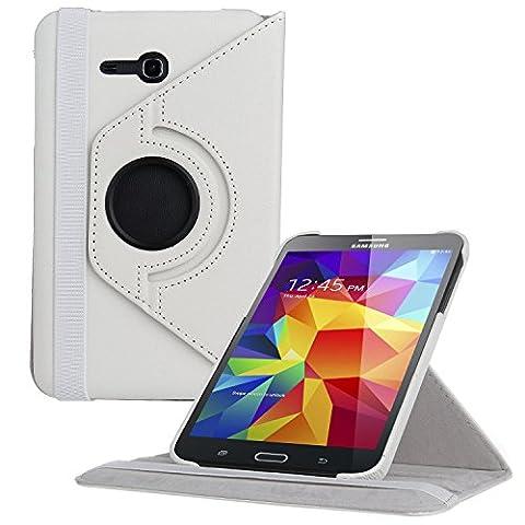 EnGive 360° Drehbares Ledertasche Schutzhülle Leder Tasche Samsung Galaxy Tab 3 7.0 Lite T110 T111 (7 Zoll) Hülle (Samsung Galaxy Tab 3 7.0 Lite, Weiß)