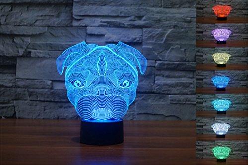YBest 3D Optische Illusion LED Schreibtisch-Lampen, Farbwechsel Touch-Schalter, Nachtlicht mit USB-betrieben, perfekt für Zuhause/Büro/Schlafzimmer Modern One Size hund