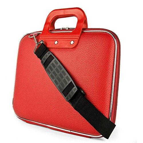 Evana Cady Collection Durable Briefcase Carrying Laptop Tab ipad mini macbook air Case with Removable Shoulder Strap for 15.6 in Laptops / Notebooks for Sony HP Apple Samsung Lenovo Dell Acer Asus(Red) (get free TTL/Trusttel Branded mobile pouch)