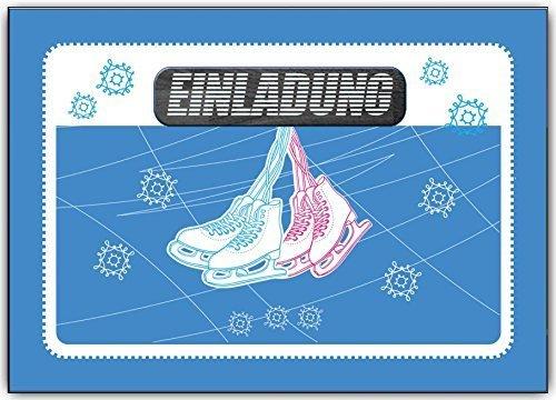 Einladungskarten Kindergeburtstag Schlittschuhlaufen eislaufen Schlittschuh Einladung - 6 Stück