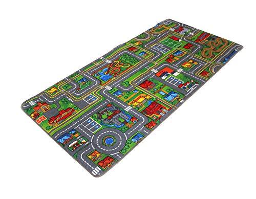 *Primaflor – Ideen in Textil Kinderteppich Streets – 0,95m x 2,00m – Schadstoffgeprüft, Anti-Schmutz-Schicht, Auto-Spielteppich für Jungen & Mädchen, Verkehrsteppich*