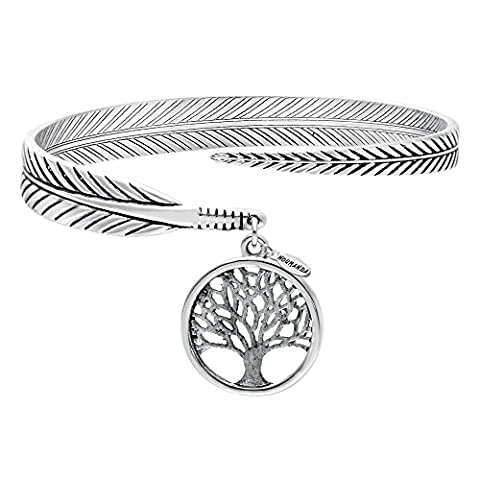 NOUMANDA Nature Jewelry Antique Silver Feather Bracelet with Tag Charm Tree Wrap Bangle Cuff (silver)