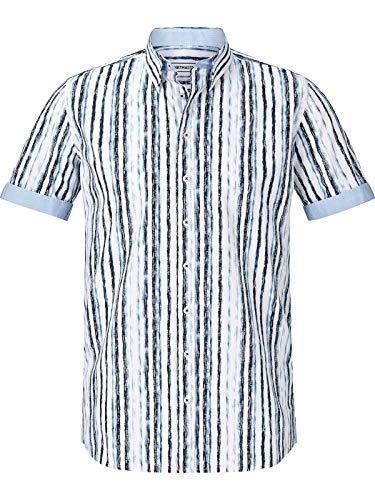 Shirt Master Herren Kurzarm Kurzarmhemd Bluestripes (Sommer-Hemd, Streifen-Muster) weiß 2XL (XXL) - 45/46 -