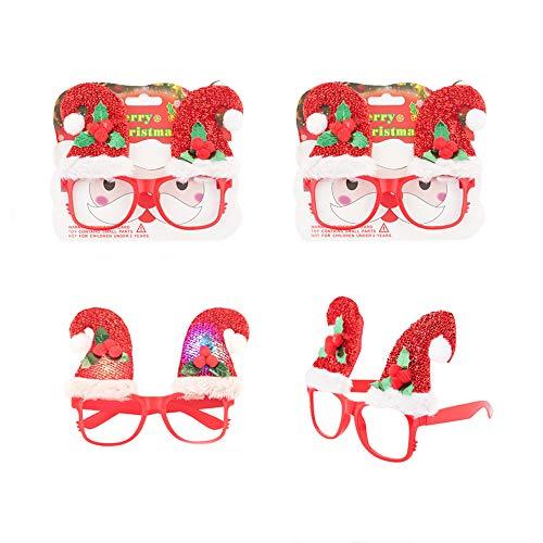 Weihnachten Kostüm Brillen,12Stück,Spaßbrille Gläser Party Brille Rahmen Plastik mit Blinkt Licht LED Leuchten Geschenke für Kinder Erwachsene Familie Weihnachts Neujahr Club Bar deko