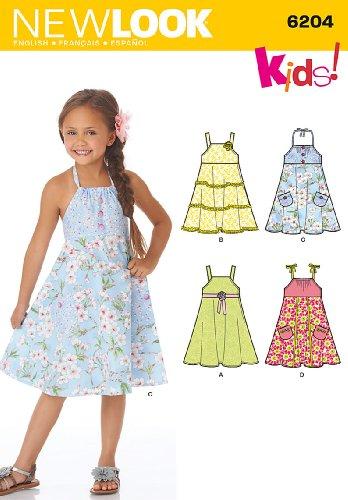 New Look Schnittmuster 6204–Kinder Kleid Größen: A (3–5–6-7–8) (Rock Gesammelt Taille)