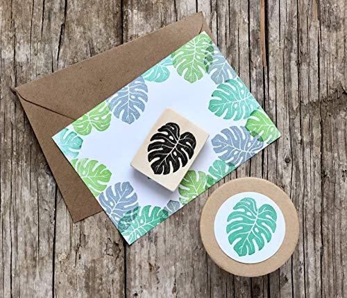 Monstera Blatt Stempel, tropisches Blatt Motivstempel, handgeschnitzt, auf Holz montiert, Fensterblatt, exotische Pflanze, Botanik Stempel, Basteln, Palmblatt, DIY, Geschenk