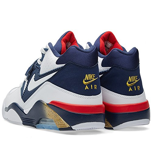 Nike Herren Air Force 180 Basketballschuhe Blanco / Azul / Amarillo (White / White-Mid Navy-Mtllc Gld-)