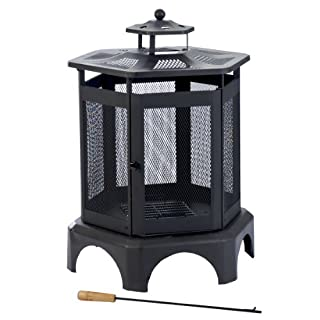 Kamino-Flam Thalia Outdoor Fireplace, Round Garden Fire Pit, Powder-coated Enamelled Steel Sheet Patio Heater with Removable Ashtray and Poker, Outdoor Chimney Log Wood Burner, approx. Ø 69 x 91 cm, Black