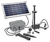 Solar Teichpumpe 8 Watt Solarmodul 300 l/h Förderleistung mit Akku und LED Beleuchtung 100 cm Förderhöhe esotec pro Komplettset Gartenteich, 101923