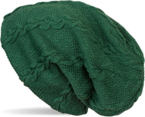 styleBREAKER warme Feinstrick Beanie Mütze mit Zopfmuster und Fleece Innenfutter, Slouch Longbeanie, Unisex 04024131, Farbe:Dunkelgrün