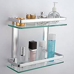 KES Aluminio Estante Baño Pared Rectangular Vidrio Templado 2 Pisos Plata, A4126B