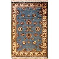 RugsTC 135 x 203 Pak Persan Tapis avec Pile de Laine - Design Floral | 100% Noué à la Main Authentique en Bleu verdâtre, Blanc, Couleurs Brun rougeâtre | catégorie 137 x 213