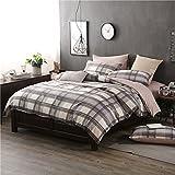 BB.er Einfache Baumwolle stripe lattice Europäischen und Amerikanischen wind Betten 4-Teiler Bettwäsche Bettbezug Kopfkissenbezug, braun, 220 x 240 cm