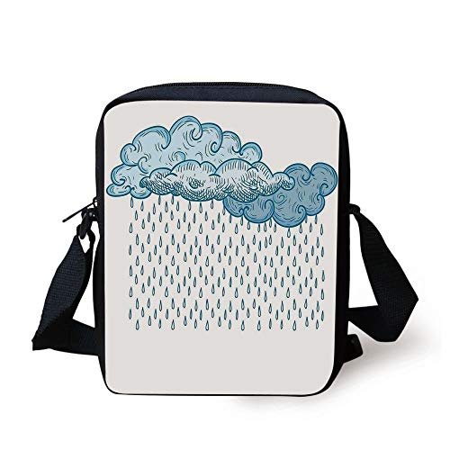 Portfolio Drawing Kit (Farmhouse Decor,Funk Style Cute Cloud Forms Made with Spiral Lines Twister Cyclone Drawing Print,Blue Print Kids Crossbody Messenger Bag Purse)