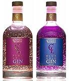 Pack Ginebras Premium con Oro Conde Lumar - Pink de Fresa - Blue de Moras - Original Para Regalar - Regalo de Lujo Especial - 15 Botánicos 5 Destilaciones - Oro de 23K Certificado TÜV Rheinland