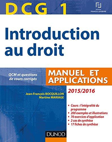 DCG 1 - Introduction au droit 2015/2016 - 9e édit...