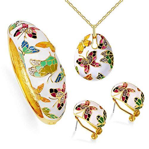 LLYY Schmuckset Schmuck-Sets, Damen Set Bunte/Halskette Armband Schmetterlings-Ohrring Handgefertigte Emaille für Frauen-Elegante Hängendes Jewellery Set(Gold),B