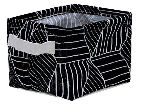bellendo® Utensilo Aufbewahrungskorb Kinderzimmer Badezimmer Stoff klein - 20 x 16 x 13 cm - Stoffkorb Baby Kinder Wickeltisch, schwarz gestreift