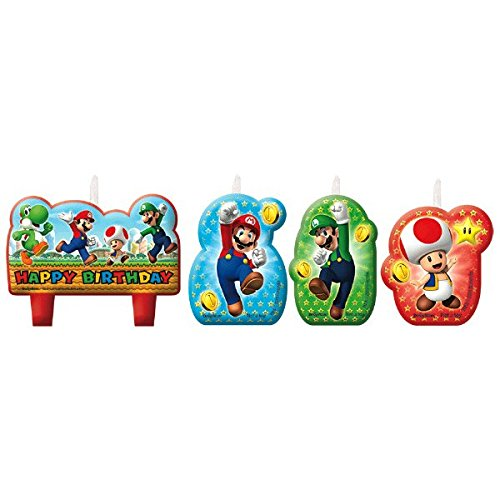 Amscan 171554 Super Mario Happy Birthday Kerzen (Mario Dress Up)