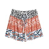 TWIFER Damen Hot Pants Sommer Shorts Hohe Taille Kurze Hosen (L, Orange)