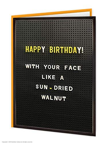 Lustige Geburtstagskarte, mit sonnengetrocknetem Walnuss-Gesicht