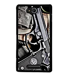 Fuson Premium 2D Back Case Cover GUN With Brown Background Degined For Sony Xperia C