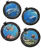 Unbekannt 4 tlg. XL Set: Wandtattoo / Sticker - Bullauge - Fenster im Schiff Delfin Schildkröten Delphin Fisch - Wandsticker Aufkleber Flugzeug Wandaufkleber Badezimmer Fische