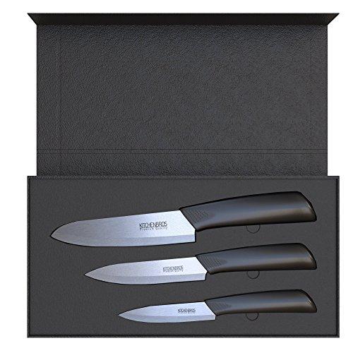 KITCHENBROS Edles Keramikmesser Küchenmesser Set - Messerset in edler Box inkl. Klingenschutz Schwarz(3-teilig)