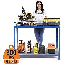 Mesa de trabajo de 2 niveles de capacidad de carga masiva de 600 kg, Estación de trabajo para el hogar, el garaje, Mesa de trabajo diy 900 mm H x 1200 mm A x 600 mm D