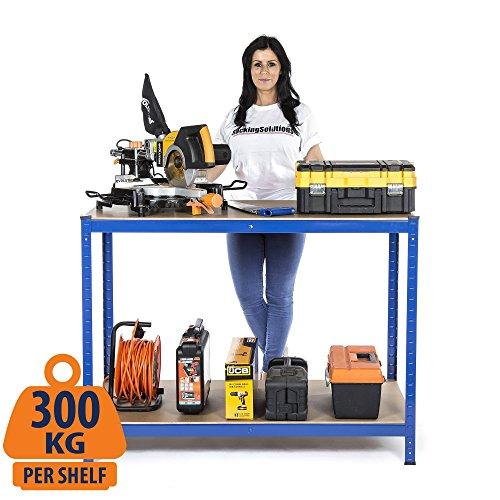 2Level Werkbank 300kg (gleichmäßig verteilte Last) Workstation Home Garage DIY Arbeit Tisch 900mm H x 1200mm W x 600mm D (Werkbank Tisch)