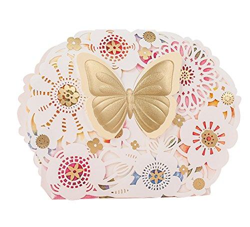 kreative Baby-Dusche Geschenke schön Hochzeitsbevorzugungs Süßigkeiten Geschenk-Box mit Schmetterlinge cremefarbenen 10 Stück (Bonbons oder Pralinen nicht enthalten)