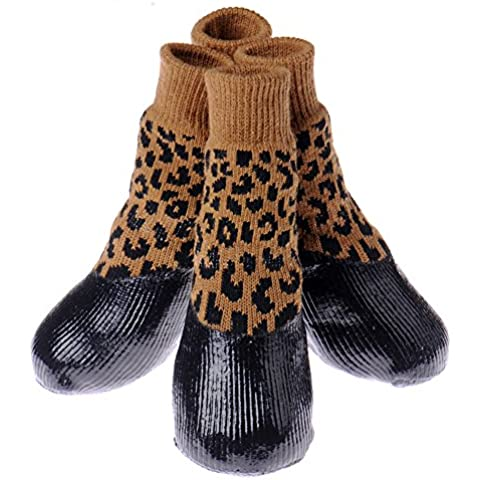 Linda del animal doméstico del perro de lluvia nieve Botas Calcetines Calzado impermeable Evitar Protección Deslizándose Nieve