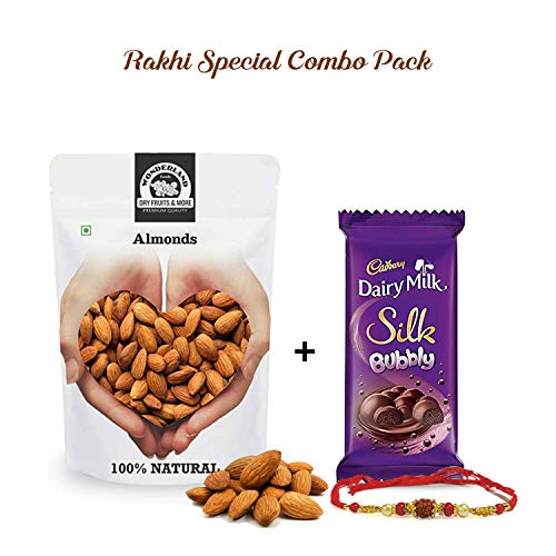 Wonderland Foods Rakhi Healthy Gifting Special - Raw California Almond 200g with Dairy Milk Bubbly Chocolate
