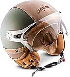 SOXON SP-325-URBAN Green · Roller-Helm Scooter-Helm Jet-Helm Chopper Biker Retro Bobber Pilot Cruiser Mofa Vintage Motorrad-Helm Vespa-Helm Helmet · ECE zertifiziert · Leder Design · mit Visier · inkl. Stofftragetasche · Grün · M (57-58cm)