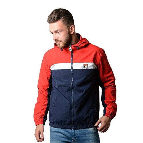 Fila Vintage Uomo Clipper Panel Light Hooded Jacket, Blu, Medium