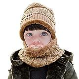 WELROG Kinder Jungs Mädchen Winter Warm Stricken Beanie Hut und Schal einstellen mit Fleece-Futter (Braun)