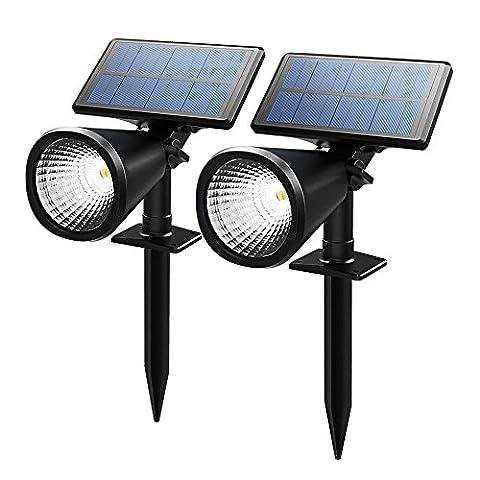 [Neue]Mpow 2 Stücke Solar Gartenleuchten Spotlight Solarleuchten Wasserdichte Scheinwerfer im Freien Außenbeleuchtung wasserdicht Wand-Licht, Outdoor Spot Licht für Garten, Pool,