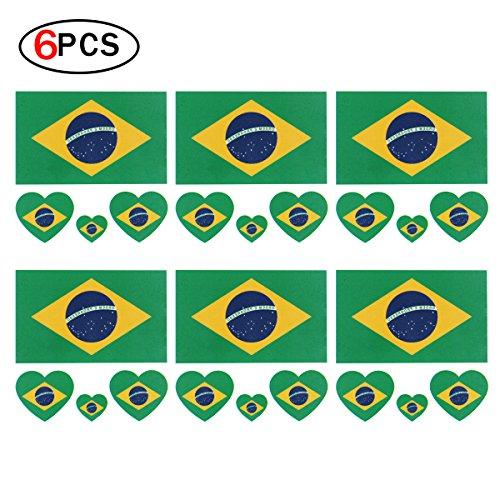 Tatuaggi di calcio per la coppa del mondo [6 fogli] tatuaggi di bandiera brasiliana