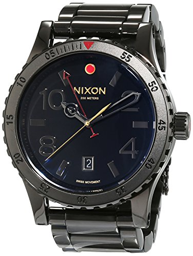 Greenwich Ring (Nixon Herren-Armbanduhr Diplomat SS All Black Polished Analog Quarz Edelstahl A2771883-00)