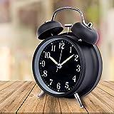 Schramm S/O® Doppelglockenwecker in SCHWARZ mit Alarm und Nachtlicht Glockenwecker geräuschlos Quarzuhrwerk Nostalgischer Wecker Retro Glockenwecker
