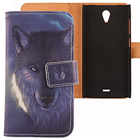 Lankashi PU Leather Etui Flip Case Housse Cuir Cover Coque Protection Pour Orange Nura Wolf Design