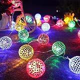 Huihong 20 Led String Lichter Metall Marokkanischen Ball Globus Fee String Orb Lantern Terrasse, Wasserdicht Und Staubdicht (Bunter, 3m/20 LED)