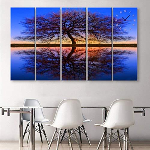O&YQ Wanduhr, einfache Moderne Art Tintenstrahluhr, kreative dekorative Malereiuhr, Wohnzimmer Esszimmer 5PCS Wanduhr,24 * 70cm