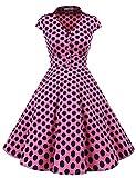 Gardenwed Damen Abendkleider Vintage Cocktailkleid 1950er Retro Sommer V-Ausschnitt Kleid Petticoat Faltenrock Pink Black Dot 3XL