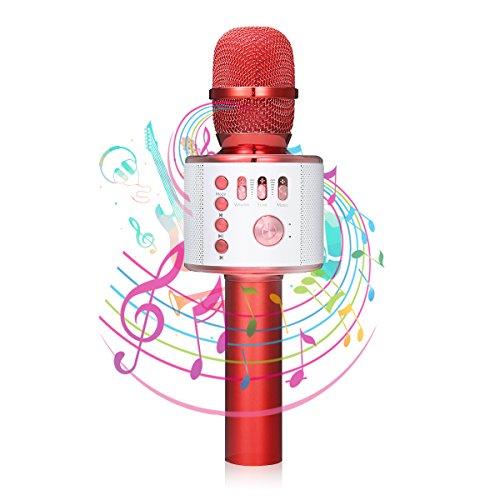 bluetooth Karaoke Mikrofon, NASUM,tragbare drahtlose dynamisches Mikrofon mit Lautsprecher für Erwachsene und Kinder für Sprach- und Gesangsaufnahmen,kompatibel mit Android/IOS, PC