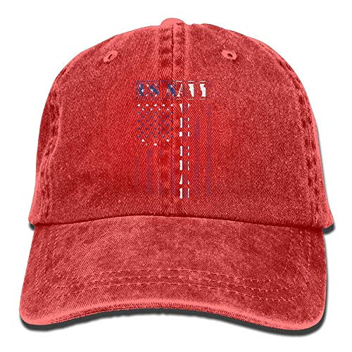 Wdskbg Unisex Yarn-Dyed Baseball Cap Us Navy Veteran Distressed American Flag Dad Hat -