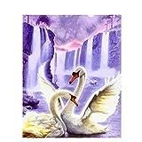 wwdfdd Pintura por números Sin Marco Cisne Animales DIY Pintura por Números Imagen de Arte de Pared Pintura de Lona Acrílica para Decoración de Bodas 40X50CM