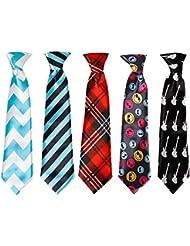 Bundle Monster - 5x Cravates Assorties avec Noeud Fait Polyester pour Garçons - Petit, Set 3 - Mis en Vedette