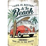 Nostalgic-Art Retro metalen bord Volkswagen Bulli T1 - Beach - VW bus cadeau-idee, van metaal, vintage design ter decoratie, 20 x 30 cm